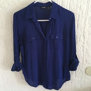 A.N.A Blue Button Down Blouse Size Small